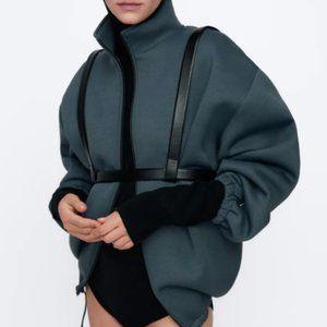 NWT Zara BlueGray Neoprene Effect Zip Sweatshirt S